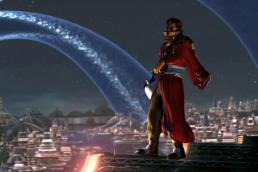 Auron blickar ut över Zanarkand i Final Fantasy X
