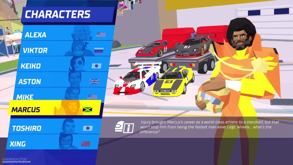 Du kan välja på åtta olika karaktärer att köra med. Dessvärre märks det ingen skillnad i själva spelmekaniken.