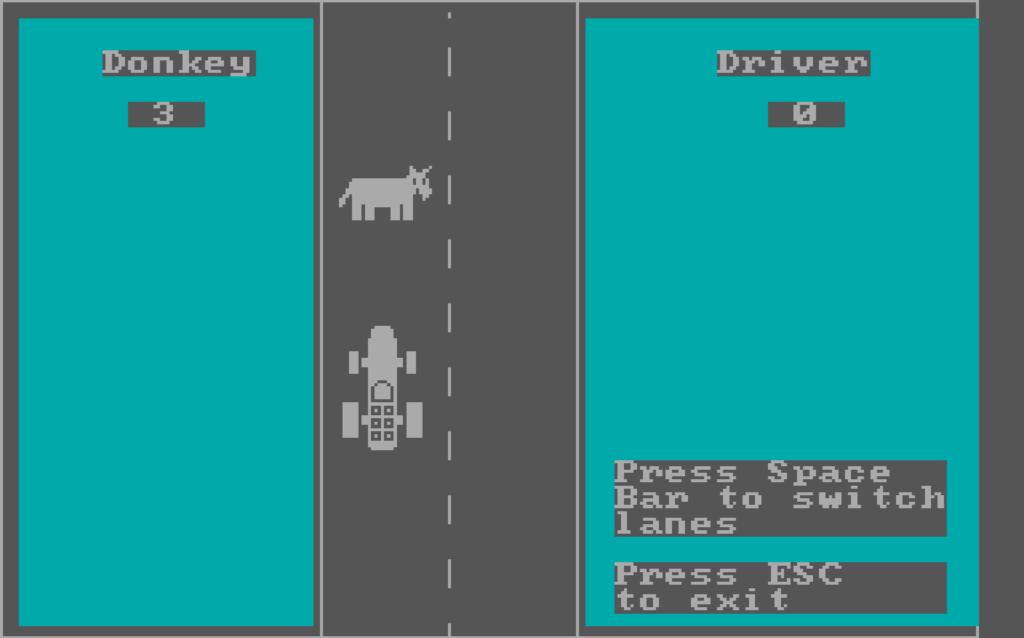 Genom att trycka på SPACE kunde spelaren byta körfält. Det var den enda knappen förutom ESC (för att avsluta) som användes i DONKEY.BAS.