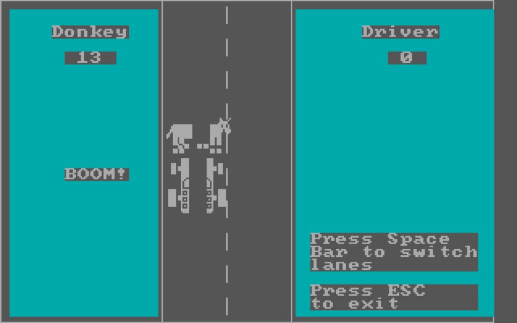 När bilen kraschade med en åsna delades den upp i fyra delar. Hertzfeld må misstycka, men det var en stor effekt för PC-formatet.