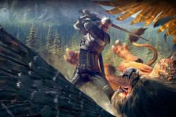 Geralt som slås mot en Grip