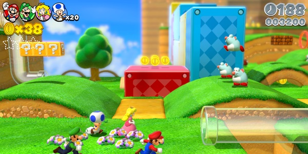 På väg in i ett rör i Super Mario 3D World