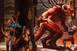 En besvärjerska och en amazon väntar på att rädda en paladin i Diablos klor.