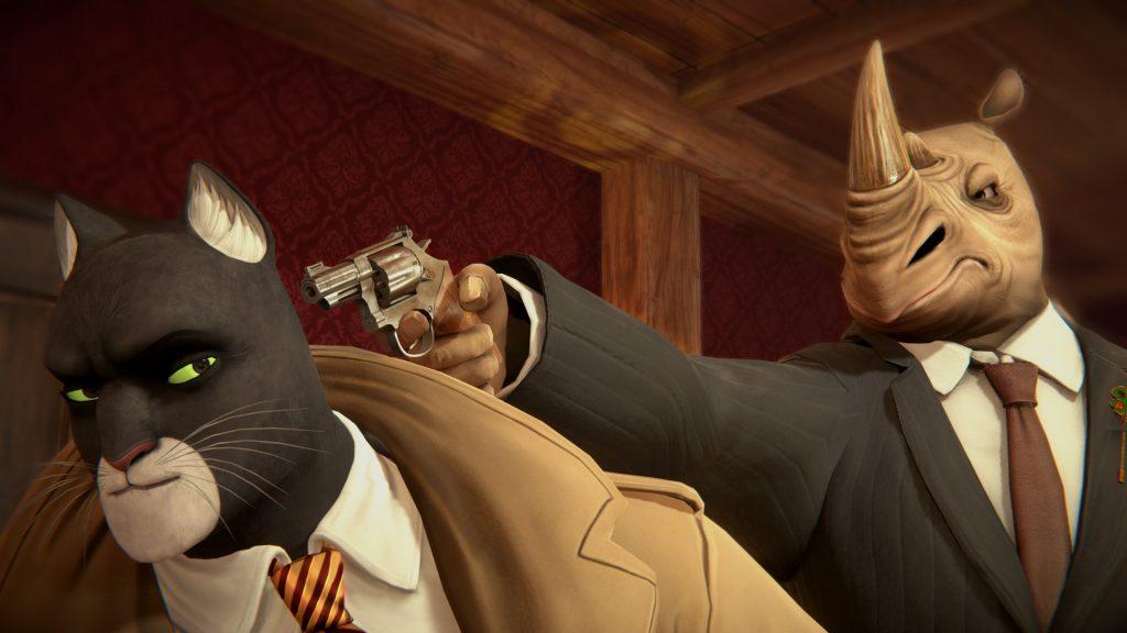 John Blacksad blir hotad av en noshörning