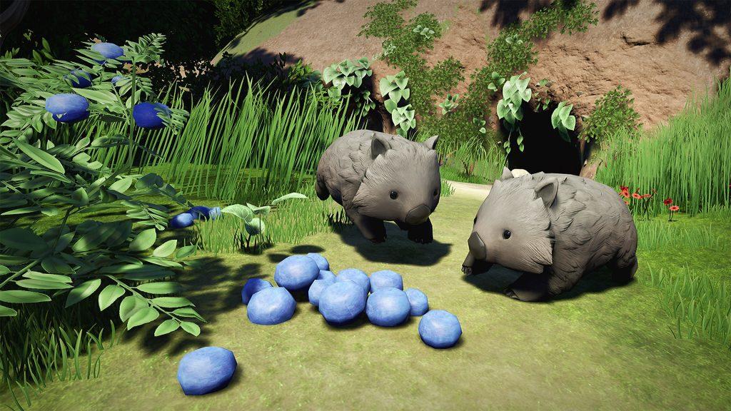 Vombater leker i solen i Lost Ember