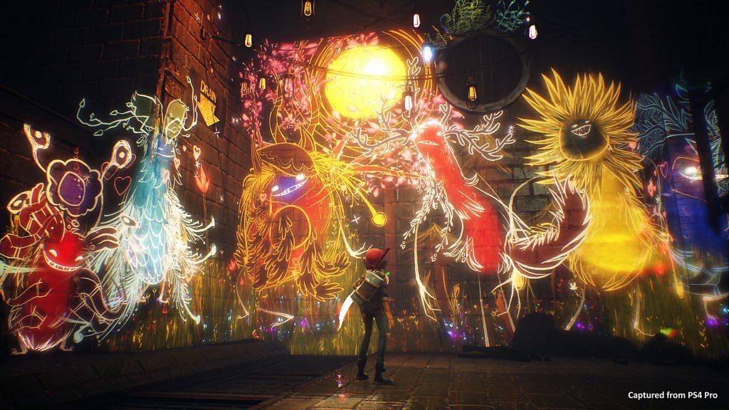 Ash framför ett gäng andar på en vägg i Concrete Genie